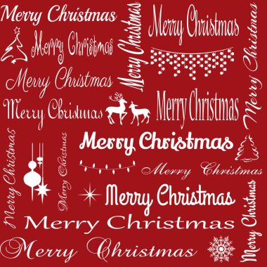 Merry Christmas typography illustration with Christmas symbols decoration on red background
