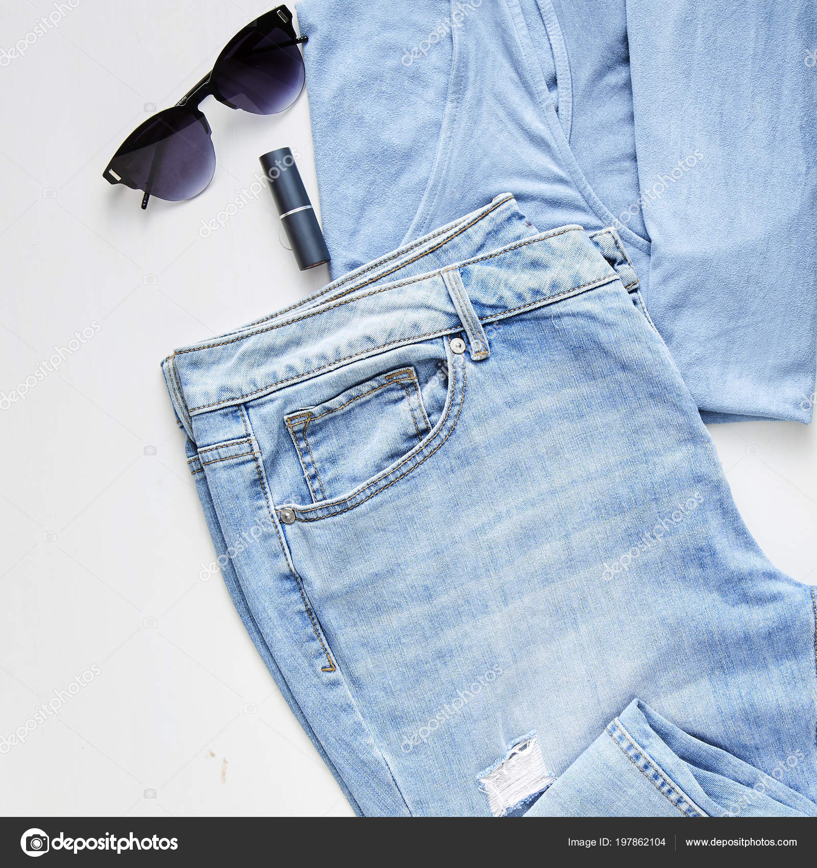 109b82ac9f30 Flat Lay Feminine Clothes Accessories Collage Jean Sunglasses Earring White  — Stock Photo