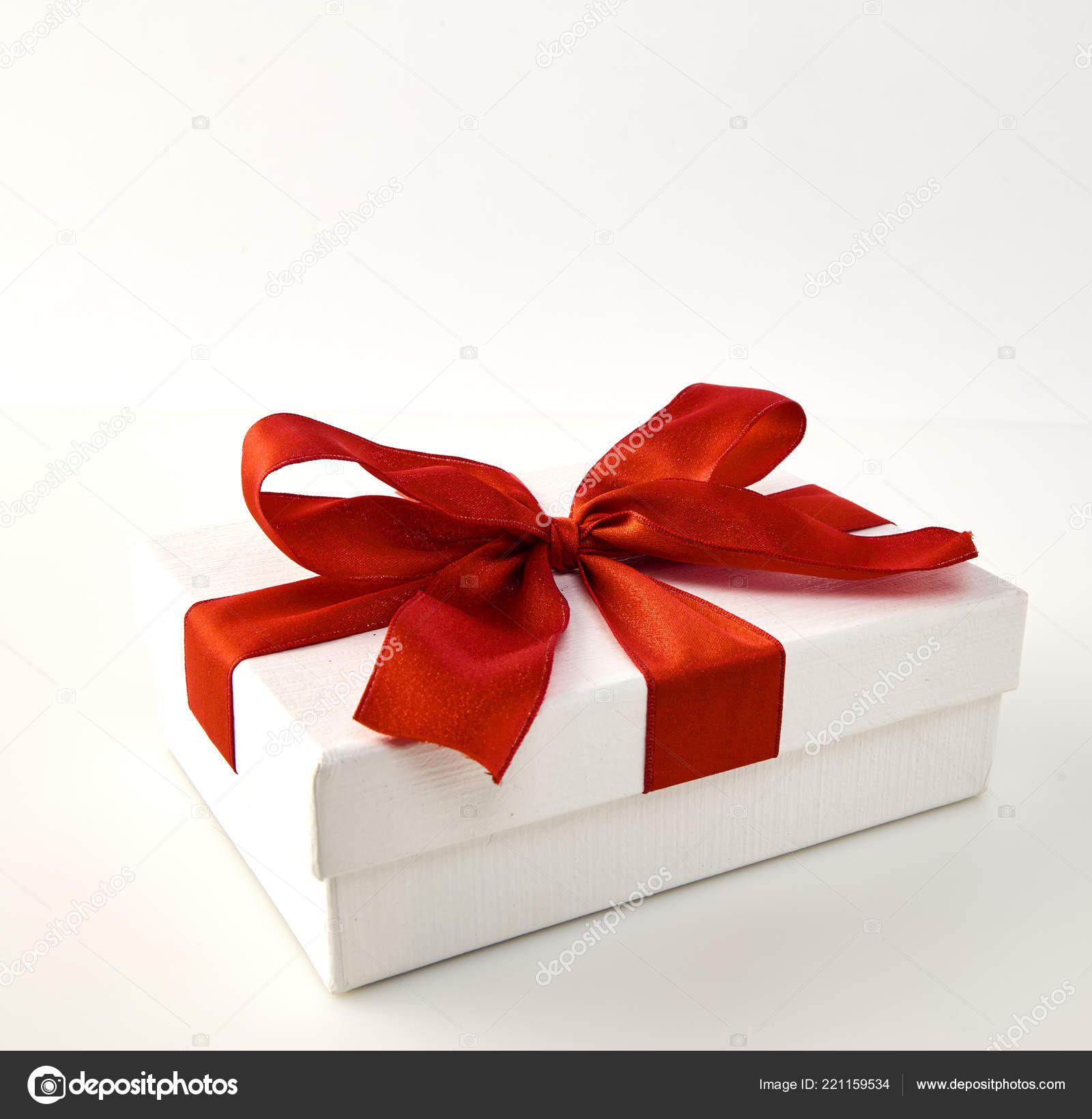 Box Big Red Bow Christmas New Year Day Open Red Stock Photo