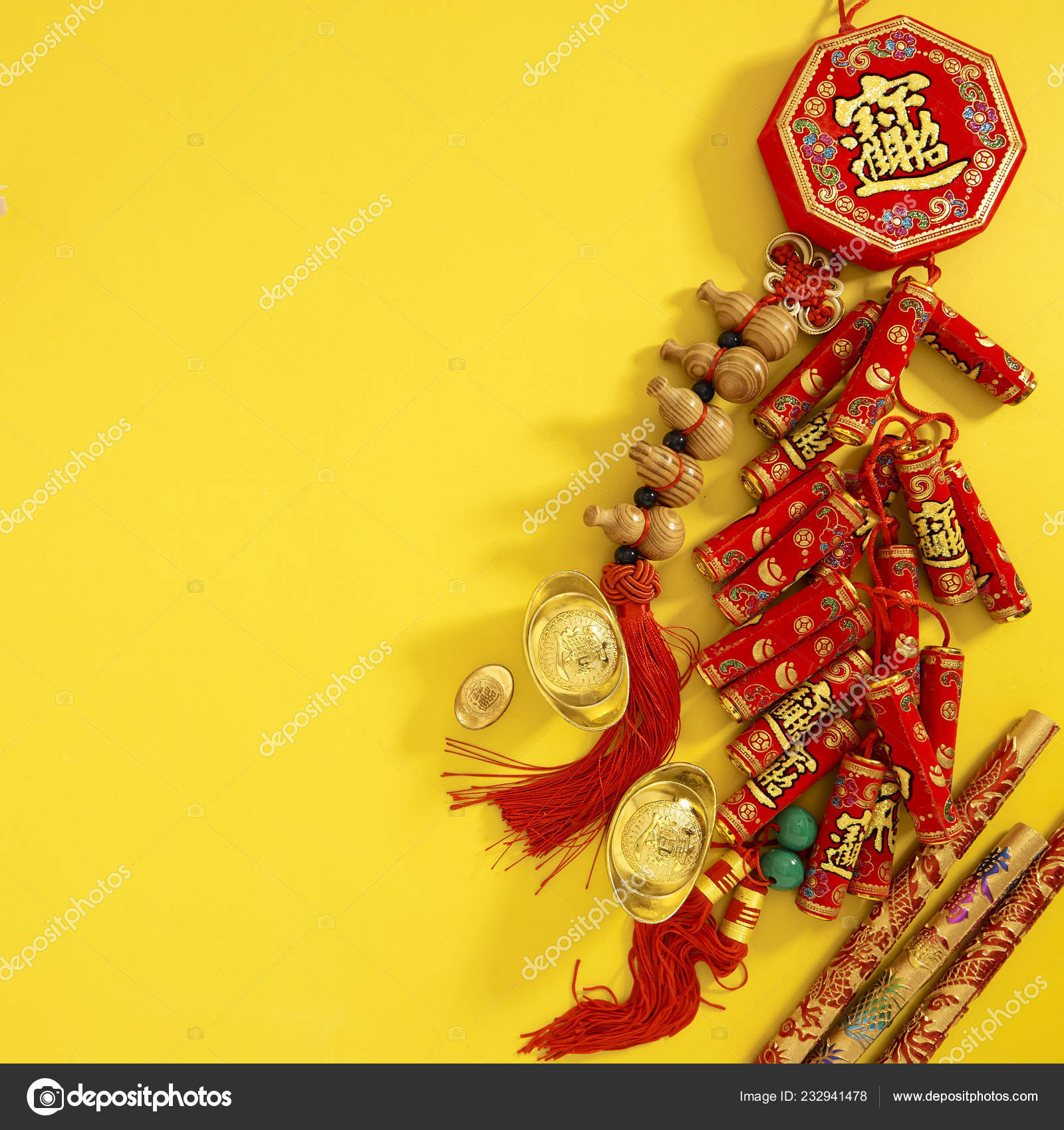 Flat Lay Happy Chinese New Year Lunar New Year 2019 — Stock