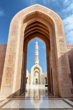 Beautiful arches in courtyard of the Sultan Qaboos Grand Mosque