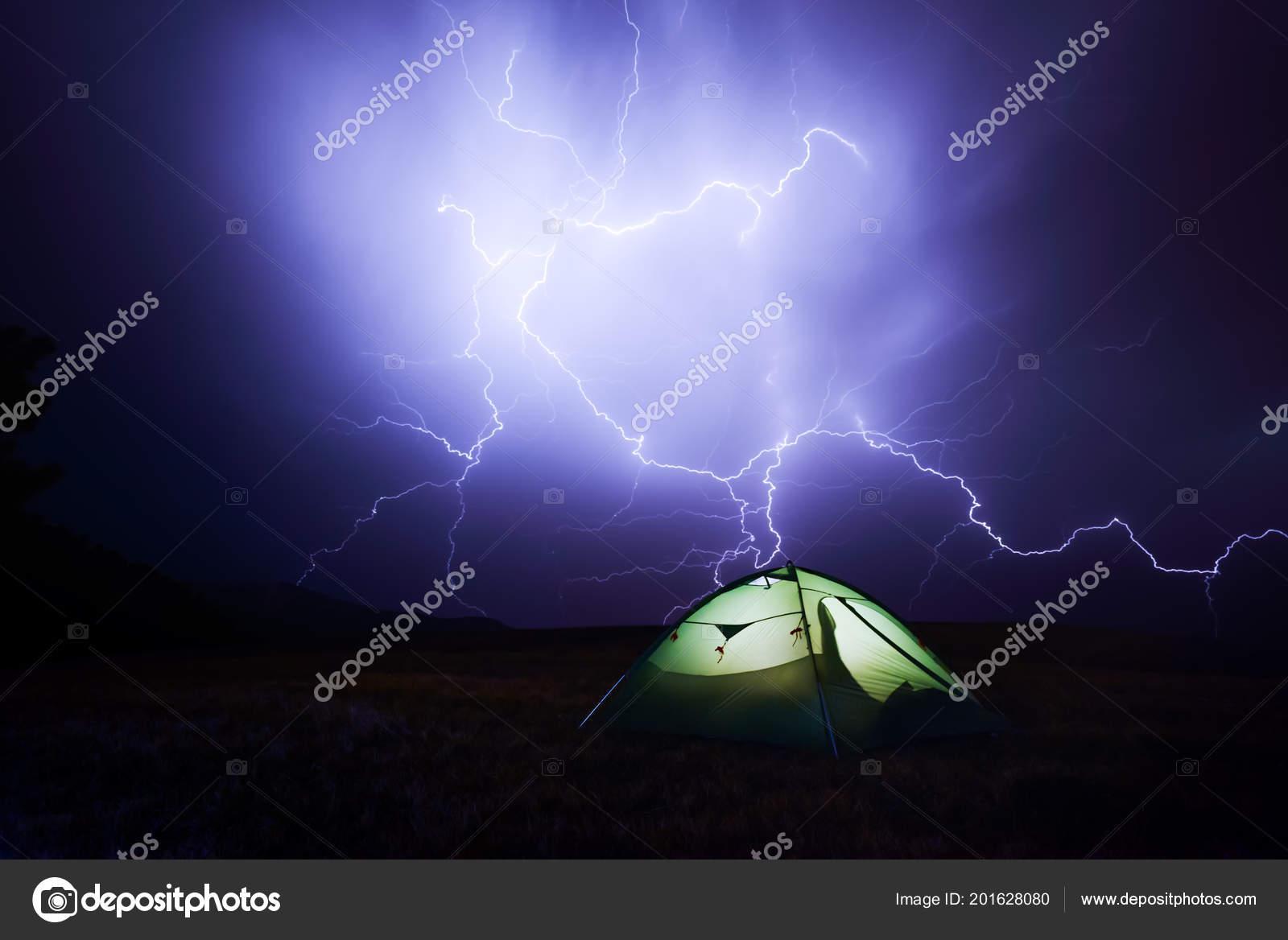Incredible Sky Lightning Tent Camp Danger Tourism Concept