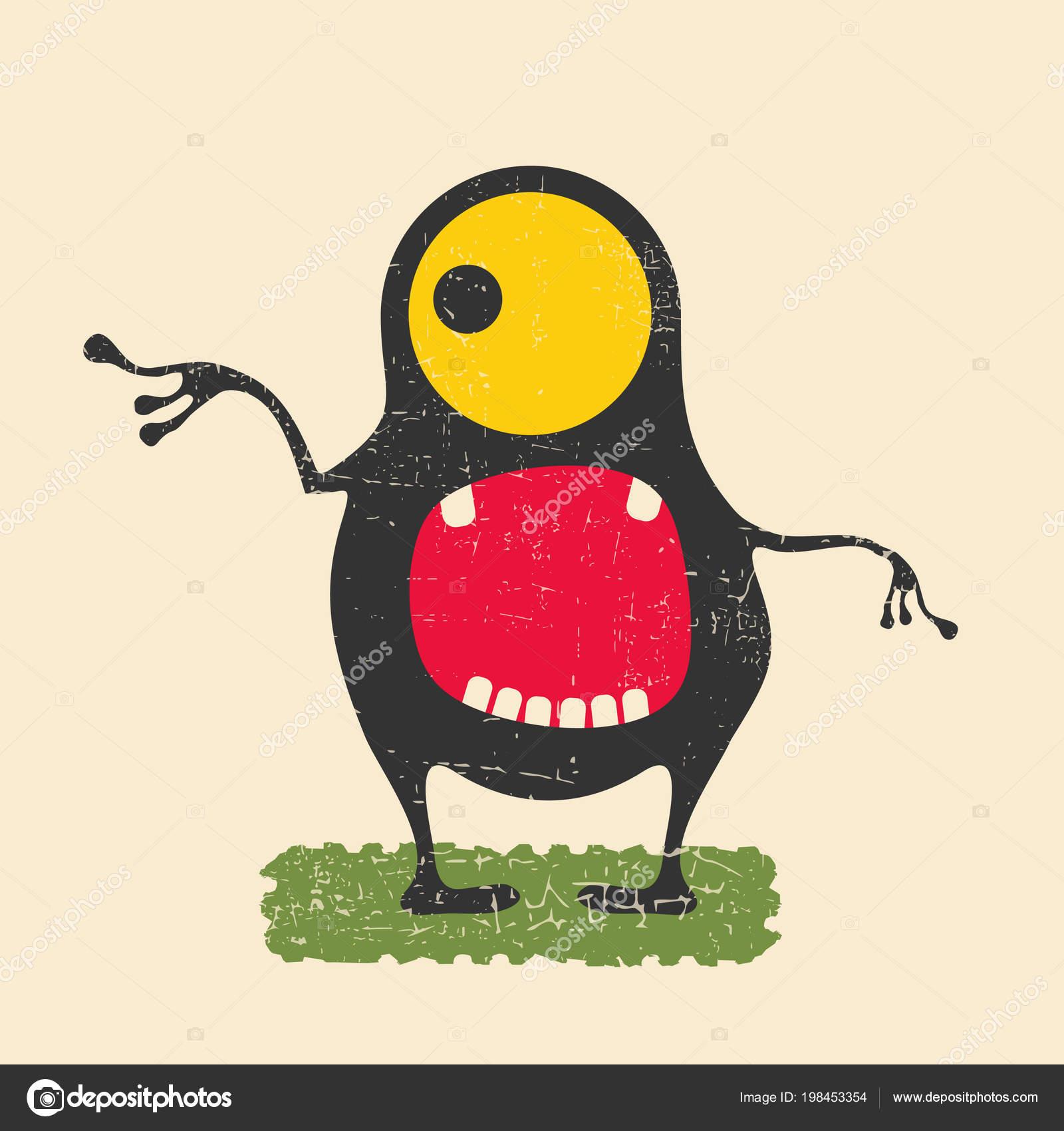 緑の芝生の上に立って黄色の目を持つ幸せなモンスター グランジ背景に