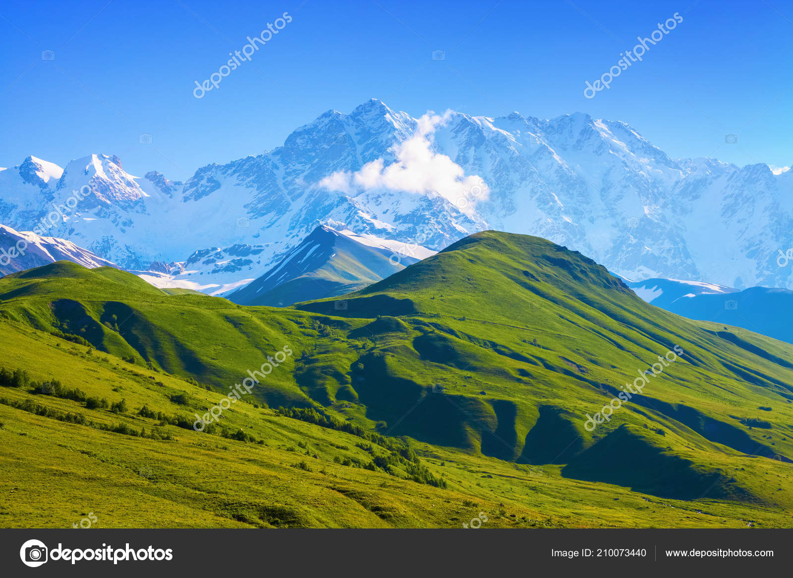 Nice View Landscape High Mountains Sunny Day Opened Green Valley Stock Photo Image By C Vitalii Mamchuk 210073440