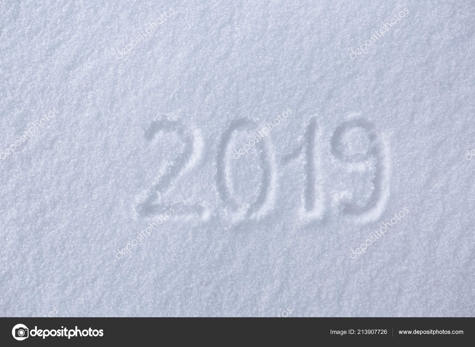 2019 writings snow happy new year beautiful cold sunny winter stock photo