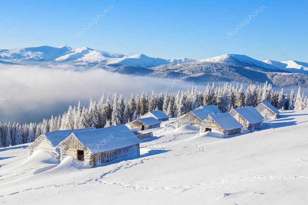 Winter camp for tourist with the harmonic mountain view. Beautiful landscape.