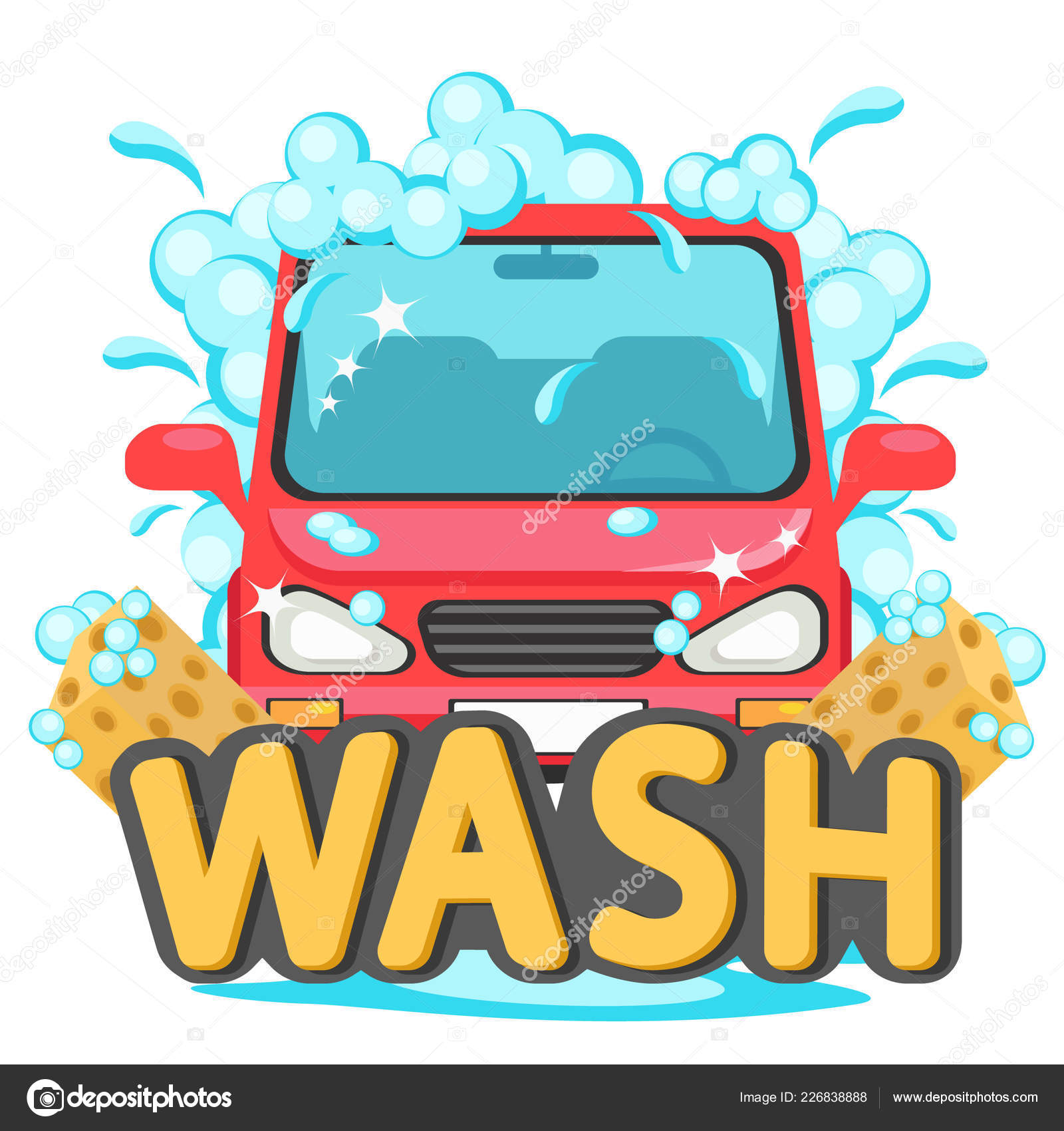 Car Wash Auto In Foam On A White Stock Vector C Innakreativ
