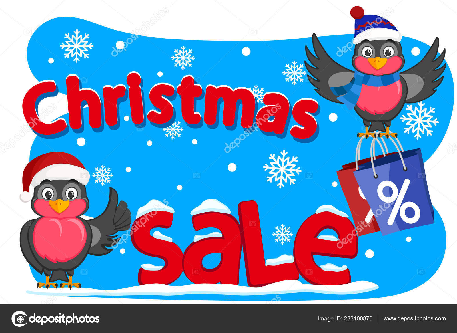 Two Birds Bullfinches Shows Like And Holding Shopping Bags Christmas Sales Stock Vector C Innakreativ Yandex Ru 233100870