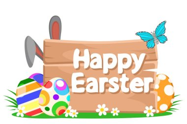 Easter eggs with wooden background, rabbit ears and butterfly on white background.