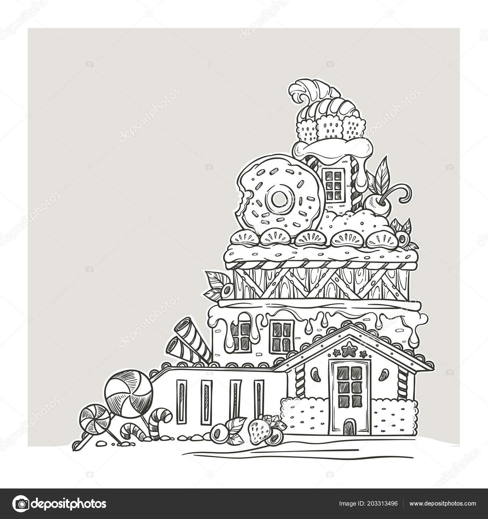 Casa Jengibre Lovely Dibujos Animados Castillo Hecha Dulces Dulces