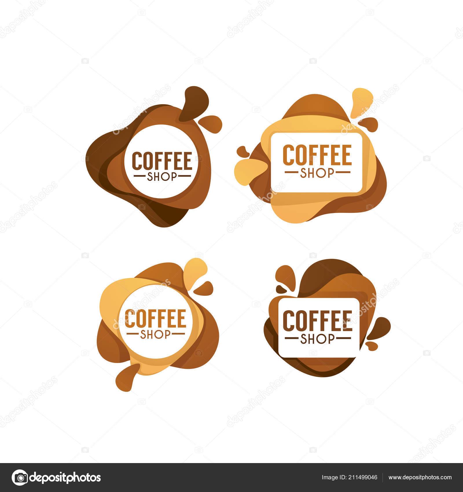 Logo Coffee Shop Wektor Kolekcja Słodkie Gorące Napoje Symbole Herby