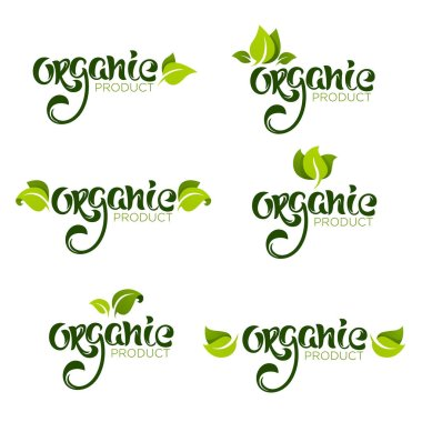 Organic product, , natural and vegan lettering for your organic food and menu logo icon