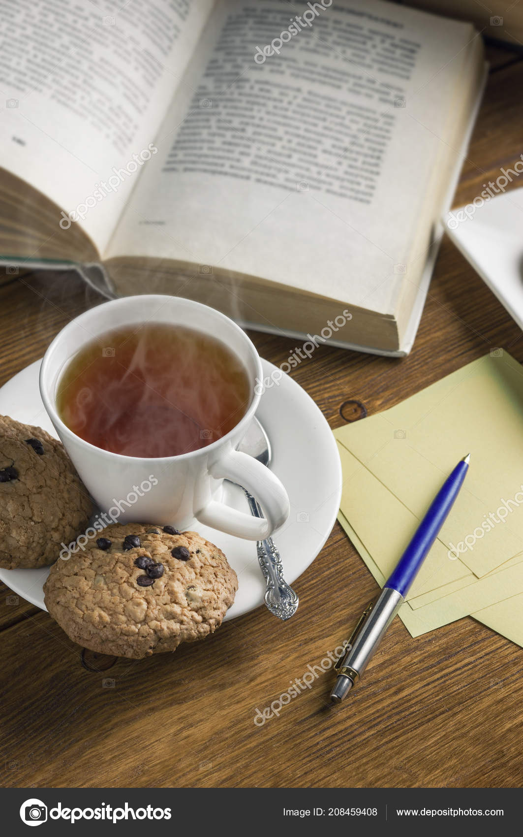 Cup Tea Some Chocolate Chip Cookies Books Brown Wooden Table