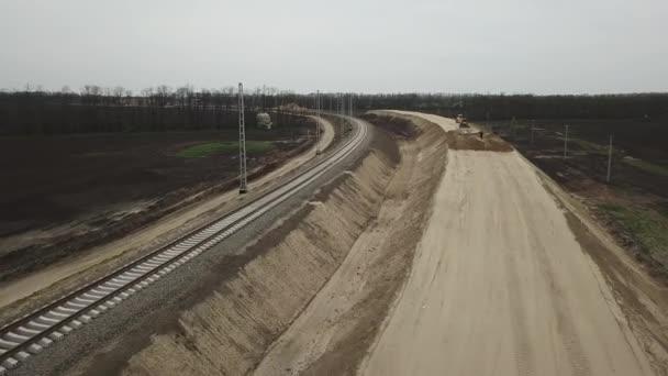 4 k letecké dron záběry z výstavby silnic. Pohled shora dolů.