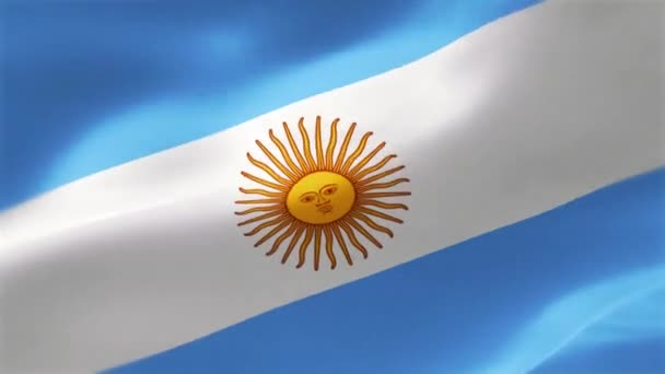 The flag of Argentina is a triband, composed of three equally wide horizontal bands coloured Carolina blue and white. . Highly detailed textured flag with wrinkles and seams.