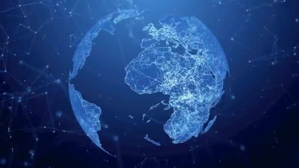rotierende Erde mit hellen Verbindungen, die ein weltweites Netzwerk bilden.