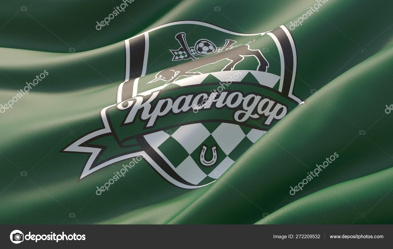 Krasnodar Russia May 2019 Waved Highly Detailed Close Up Green Flag With Emblem Of Fc Krasnodar 3d Illustration Stock Editorial Photo C Shok Design 272209532