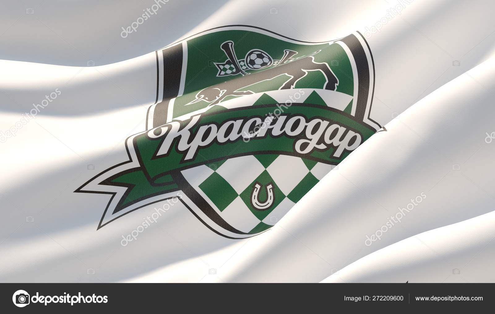 Krasnodar Russia May 2019 Waved Highly Detailed Close Up White Flag With Emblem Of Fc Krasnodar 3d Illustration Stock Editorial Photo C Shok Design 272209600