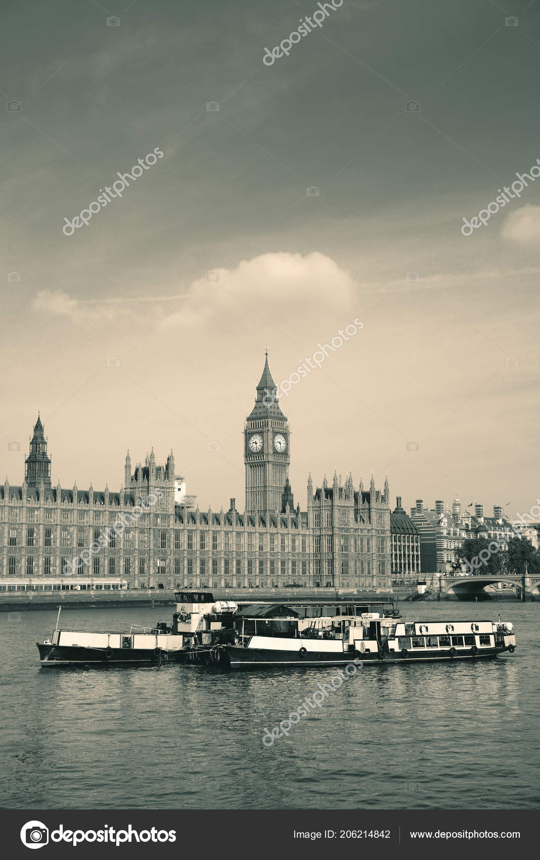 Big Ben House Parliament London Boats Thames River Stock Photo