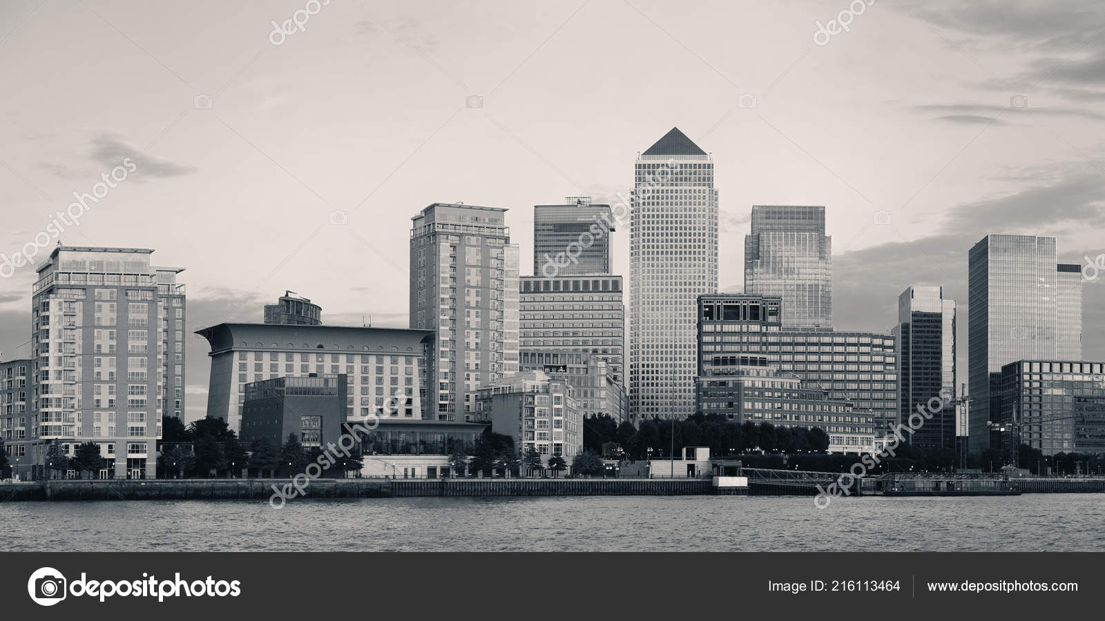 Canary Wharf Business District London Black White Stock