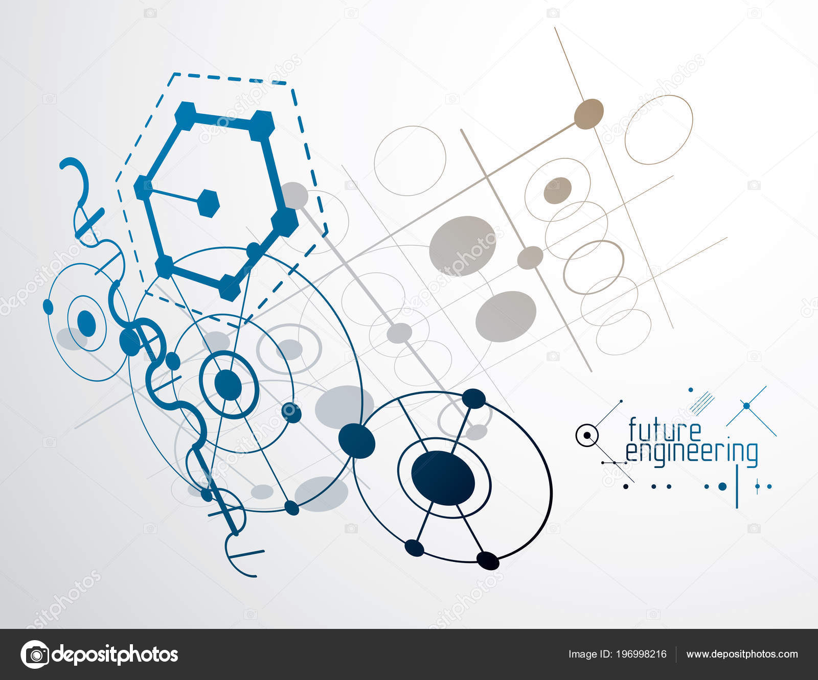 Engineering Technological Wallpaper Made Hexagons Circles Lines Stock Vector