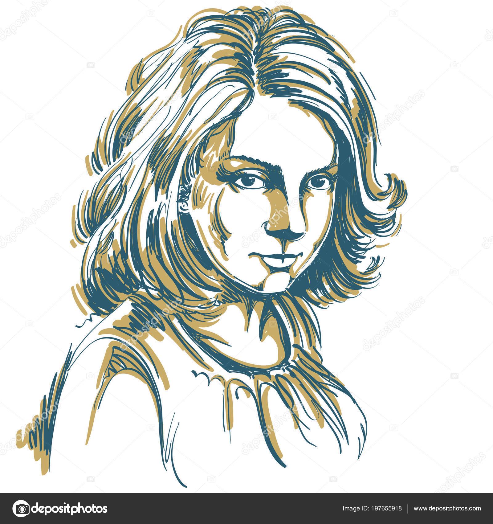 Vecteur Art Dessin Portrait Fille Romantique Magnifique