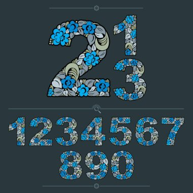 Floral numerals, hand-drawn vector numbers decorated with botanical pattern. Blue ornamental numeration, digits made in vintage design.