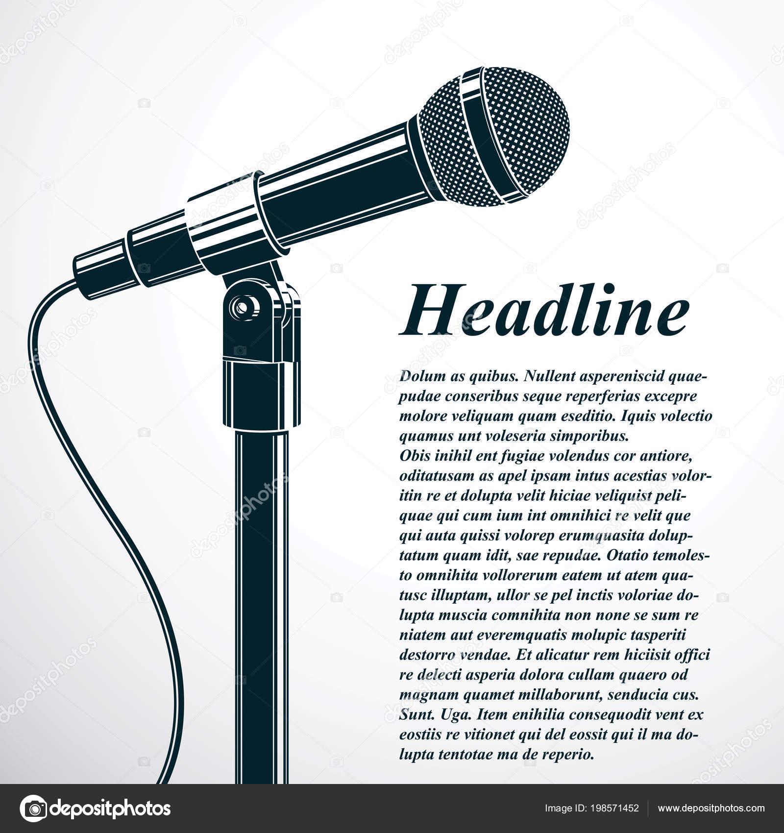 Talkshow Publicidad Flyer Plantilla Ilustración Vector Micrófono ...