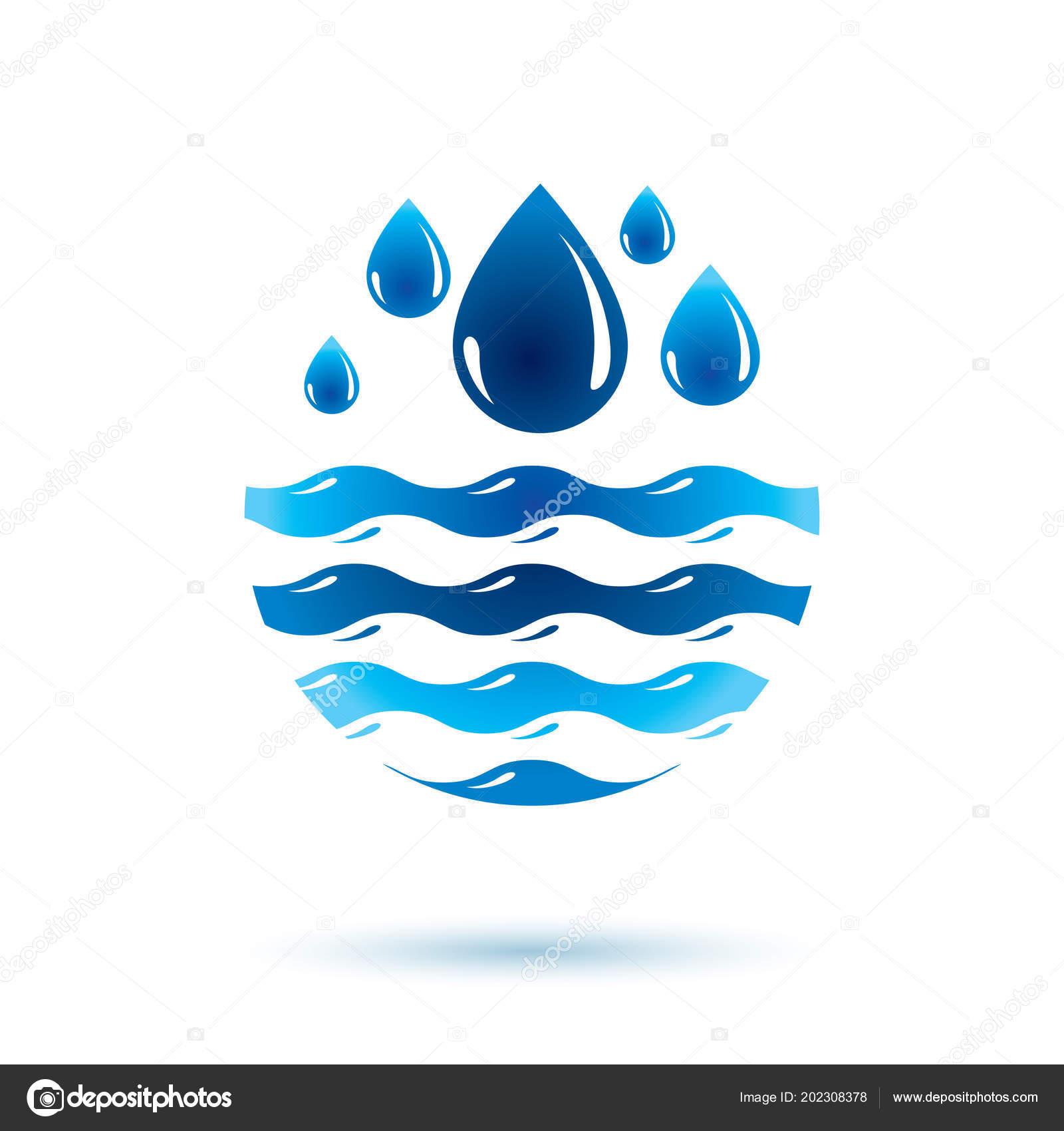 Sea Wave Splash Vector Symbol Pure Water Most Important Resource