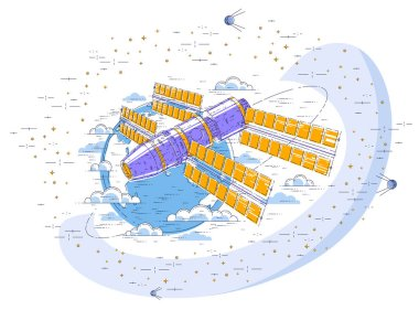 Space station flying orbital spaceflight around earth, spacecraft spaceship iss with solar panels, artificial satellite, surrounded by stars and other elements. Thin line 3d vector illustration.