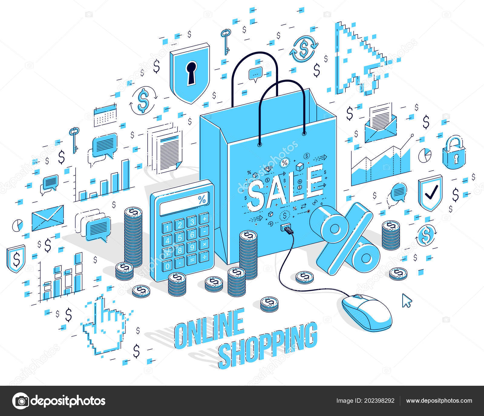 online shop concept web store internet sales shopping bag mouseshopping bag with pc mouse connected isolated on white 3d vector business isometric illustration with icons, stats charts and design elements