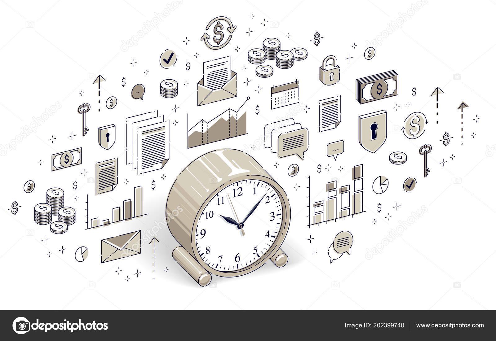 Mesa Reloj Blanco Línea Negocio Sobre Plazo Tiempo Aislada Fondo 80wNvmn