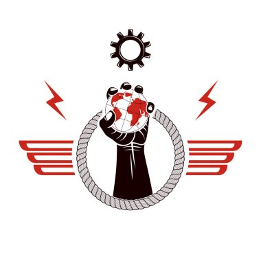 Winged vector emblem composed with raised clenched fist composed with Earth and gearwheel illustration. No limits and restrictions concept.