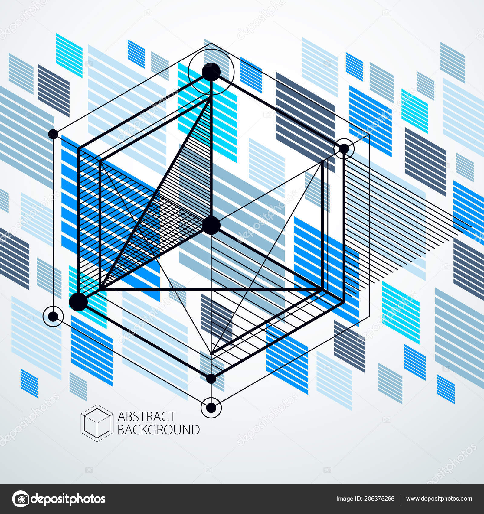 Engineering Technology Vector Blue Wallpaper Made Cubes Lines Engineering Technological Stock Vector C Ostapius 206375266