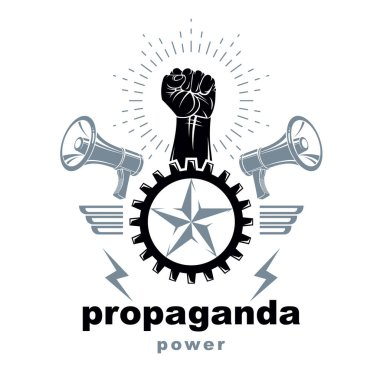 Vector leaflet created using clenched fist raised up, megaphone equipment and industrial gear element. Totalitarian utopia, ideological propaganda.
