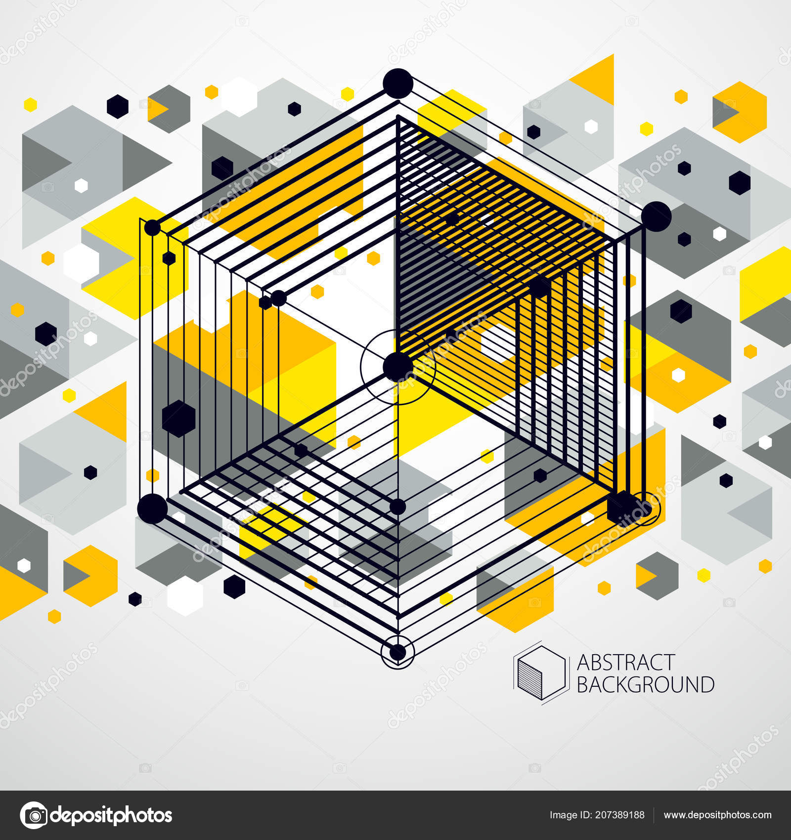 Vector Modern Abstract Cubic Lattice Lines Layout Cubes Hexagons