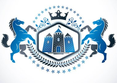 Classy emblem, vector heraldic Coat of Arms composed using horse illustration, monarch crown and medieval tower.