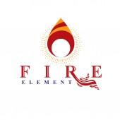 Moc hořící oheň, přírodní prvek vektorové logo pro použití v benzinu a plynu reklama.
