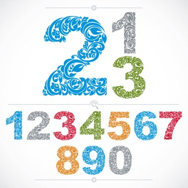 Ecology style flowery numbers, vector numeration made using natural ornament. Colorful digits created with spring leaves and floral design.