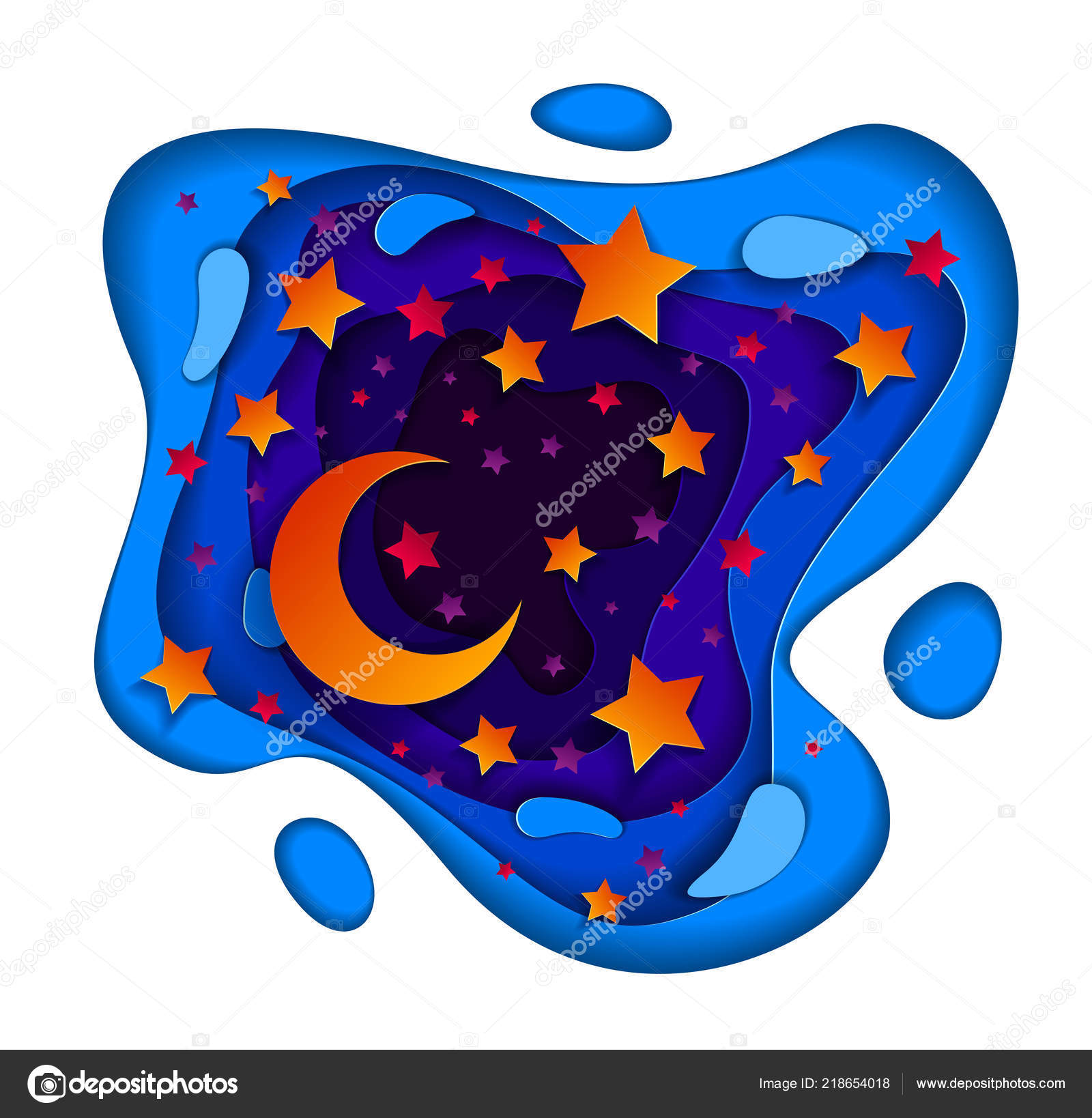 Beautiful Fairy Night Deep Blue Violet Curve Line Abstract