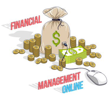 Financial management online concept, Money Bag with dollar stacks and pc mouse connected isolated on white. Isometric vector business and finance illustration, 3d thin line design.