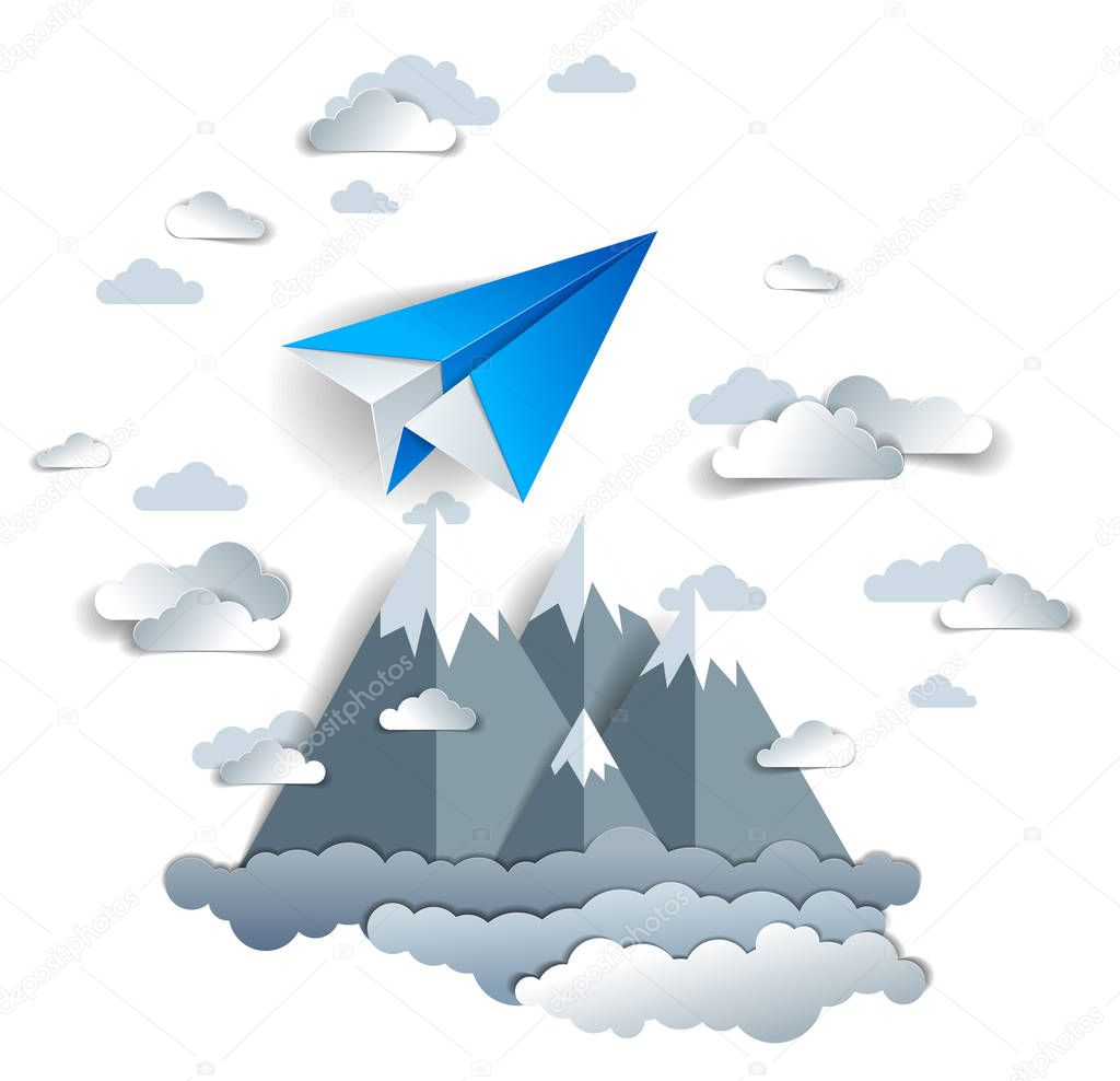Origami paper plane toy flying in sky over mountain peaks, perfect vector illustration of scenic nature landscape with toy jet take off mountain range, airlines air travel theme.