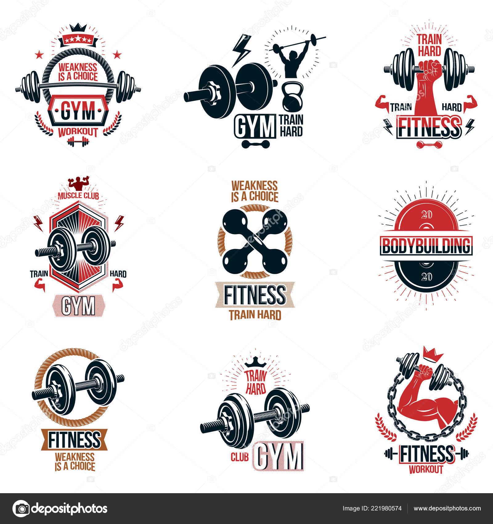 Conjunto Vector Gimnasio Tema Emblemas Carteles