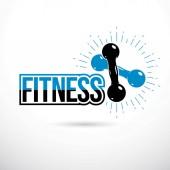 Kulturistika a fitness sport logo šablon, retro stylu vektor znak. Dvě činky palce.