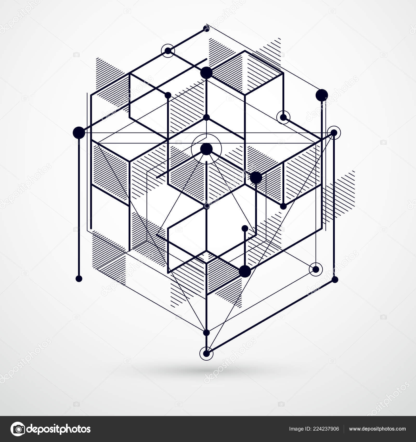 Vector Modern Abstract Cubic Lattice Lines Black White Background