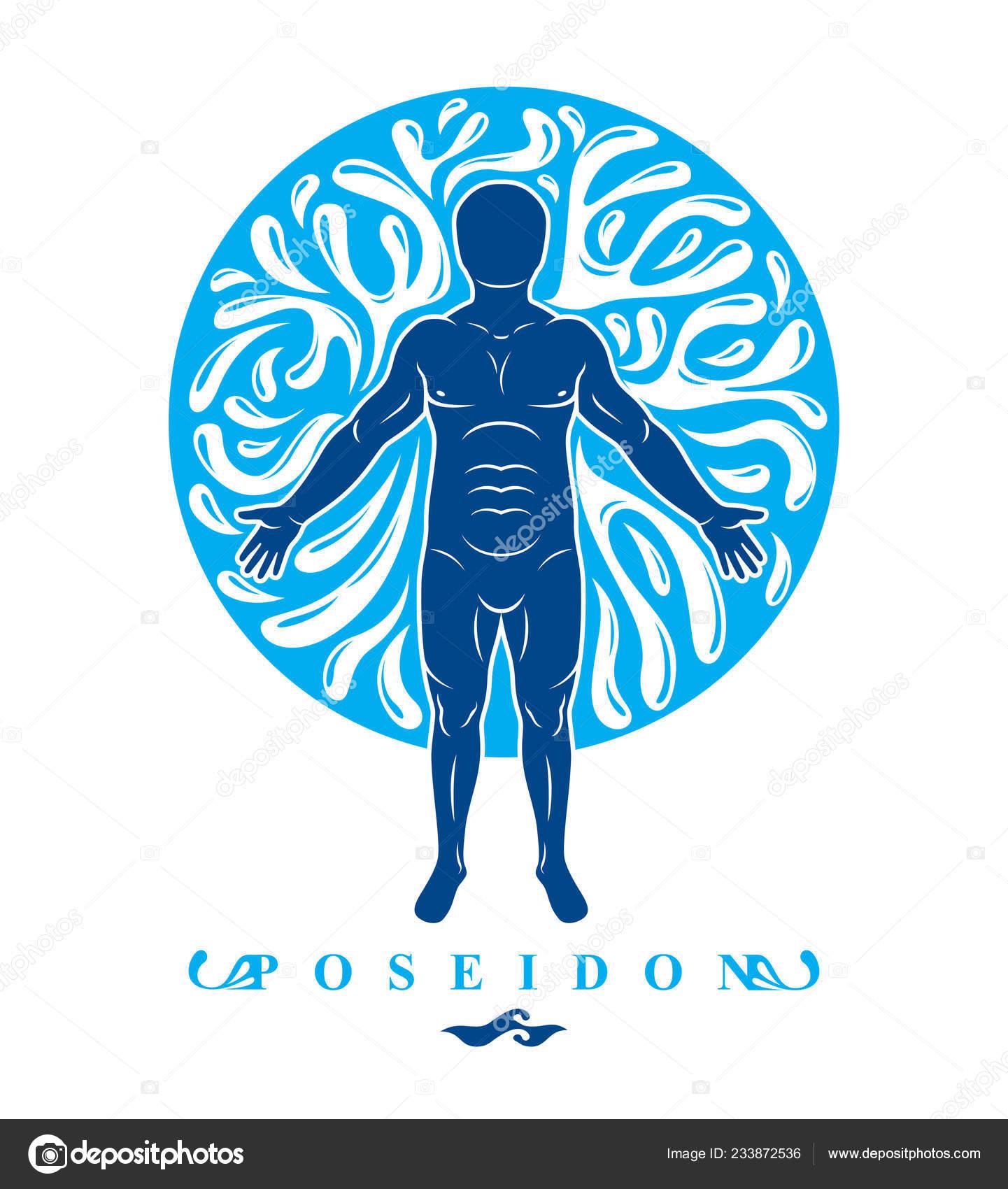 Vector Illustration Human Athlete Poseidon God Sea Defender