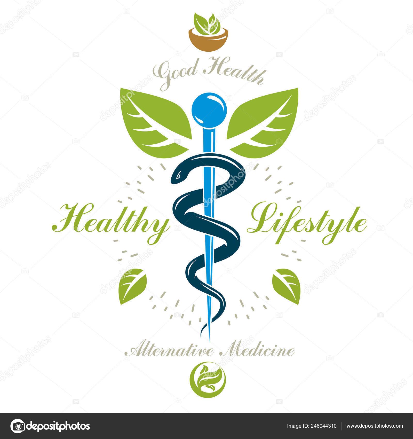 Pharmacy Caduceus Icon Vector Medical Logo Use Holistic