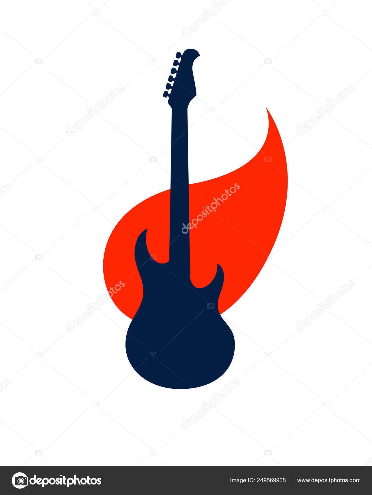 Electric guitar on fire, hot rock music guitar in flames, Hard R