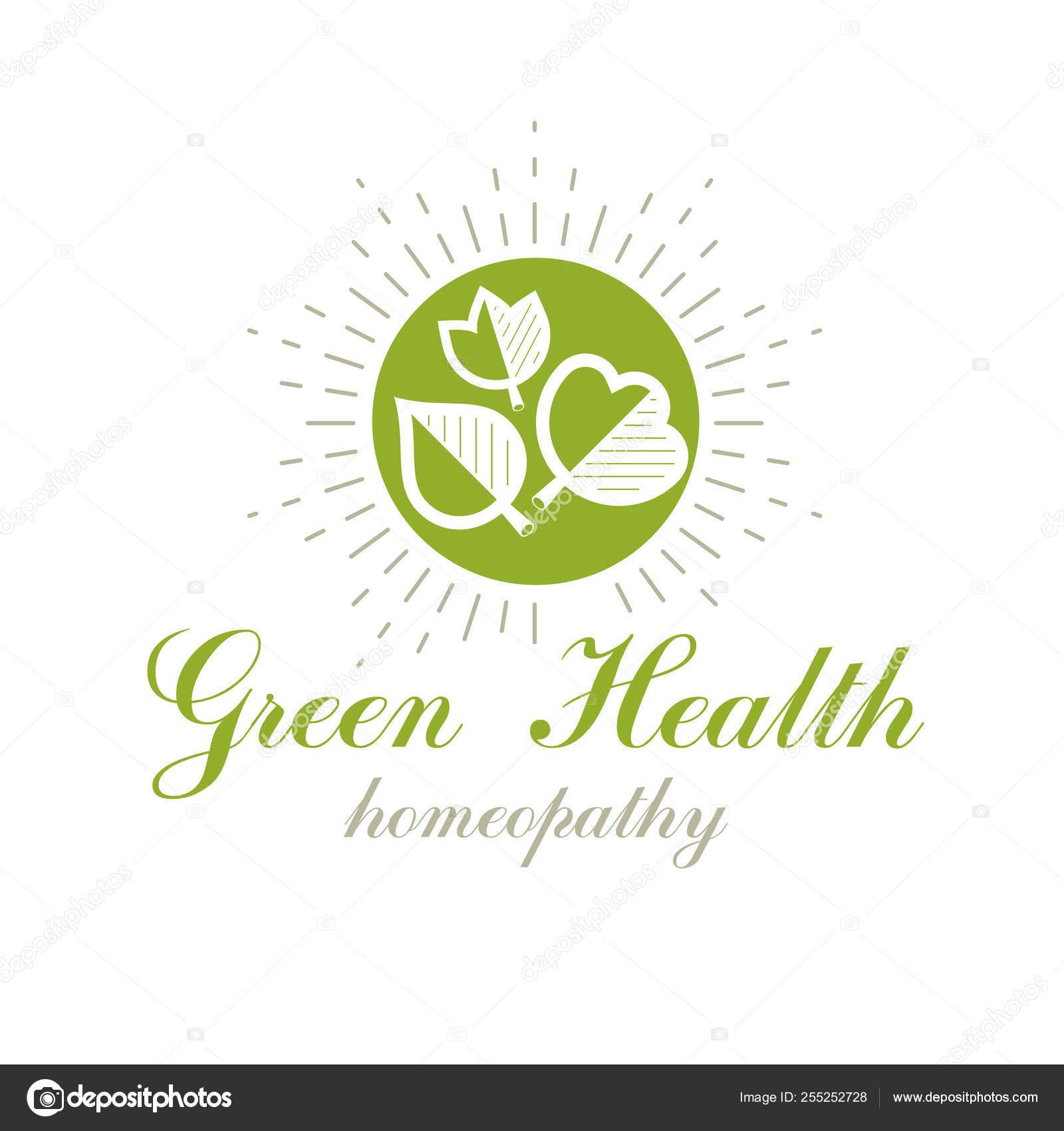 Green Spring Leaves Vector Symbol Use Holistic Medicine