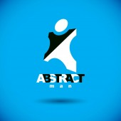 Vektor abstraktní muž zvedl ruce nahoru. Úspěšné podnikání osoby ilustrace. Tvůrčí svoboda Logotyp, emblém.